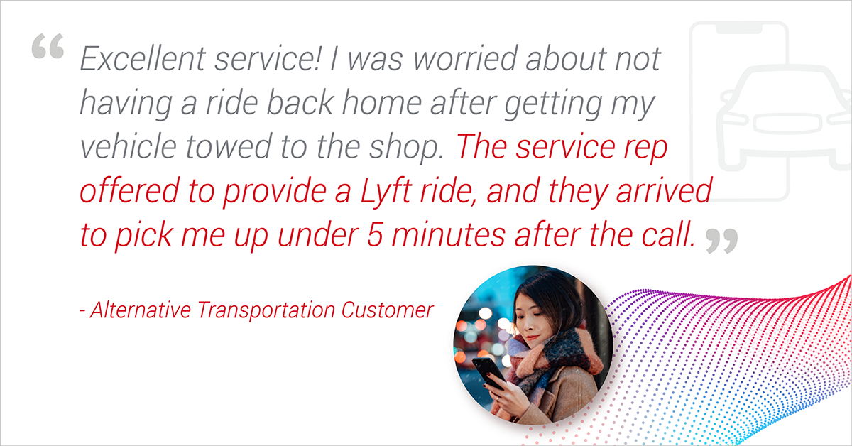 """Customer describes Agero's Alternative Transportation with Lyft as """"Excellent Service"""""""