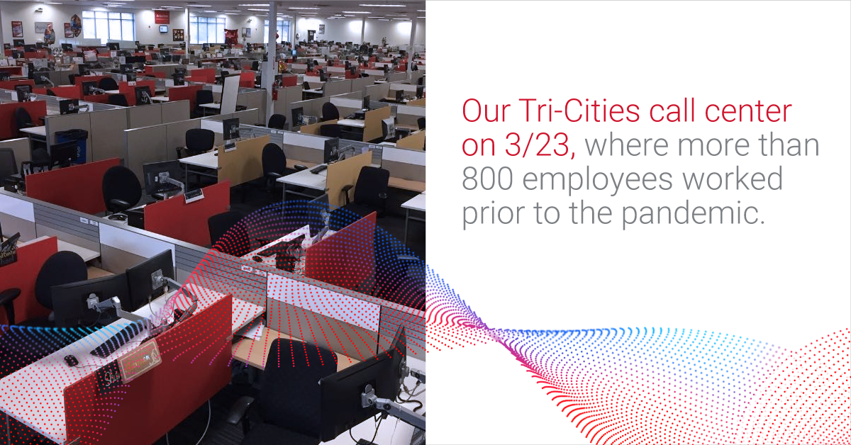 Our Tri-Cities call center was nearly empty on March 23, 2020, as Agero associates shifted to working from home.
